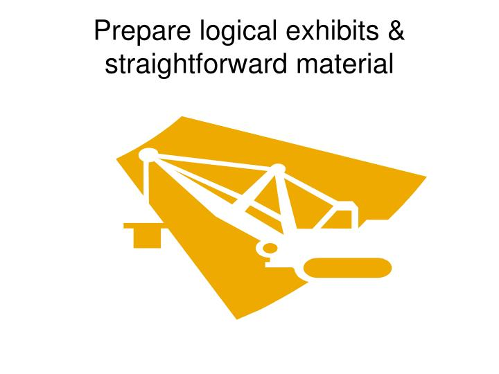 Prepare logical exhibits & straightforward material