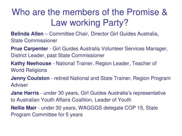 Who are the members of the Promise & Law working Party?