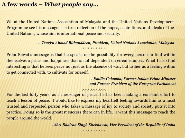 A few words –