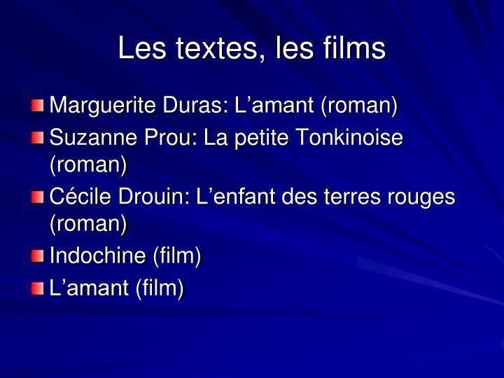 Les textes, les films