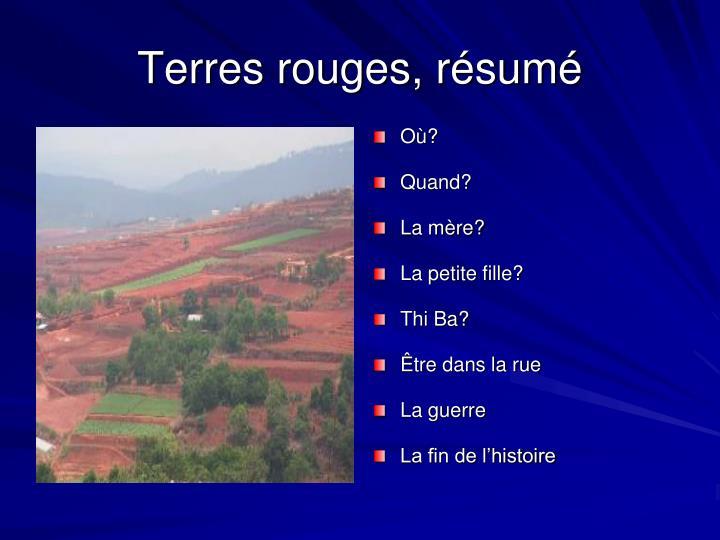 Terres rouges, résumé