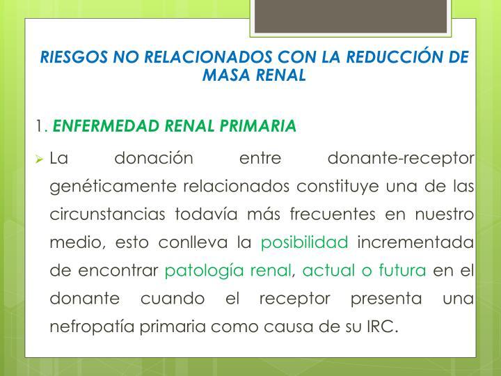 RIESGOS NO RELACIONADOS CON LA REDUCCIÓN DE MASA