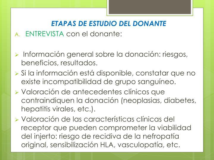 ETAPAS DE ESTUDIO DEL DONANTE