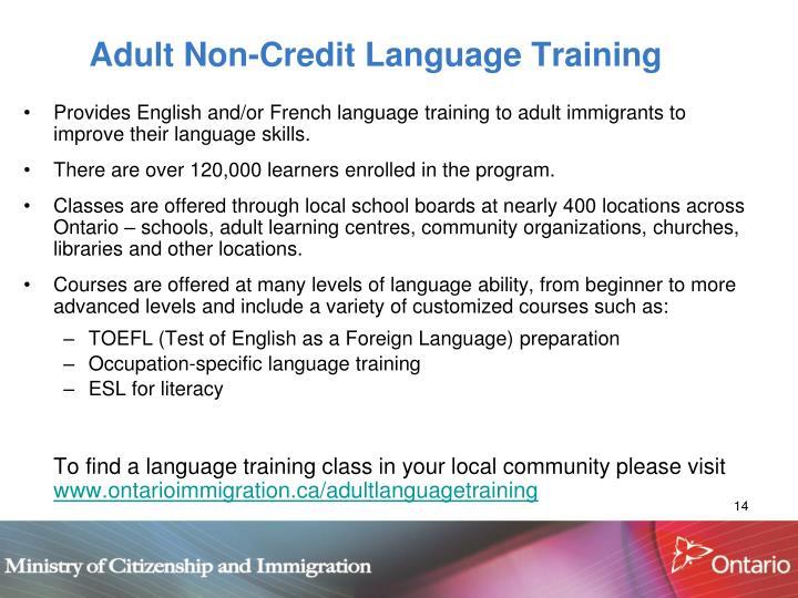 Adult Non-Credit Language Training