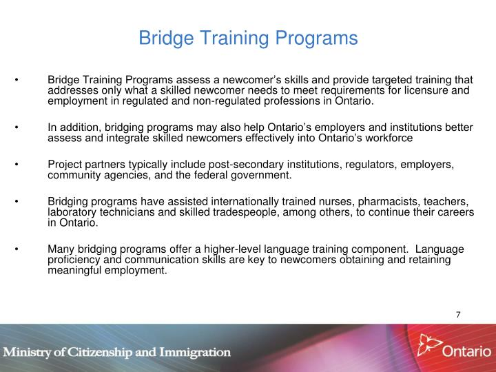 Bridge Training Programs