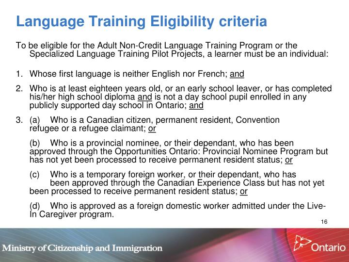 Language Training Eligibility criteria