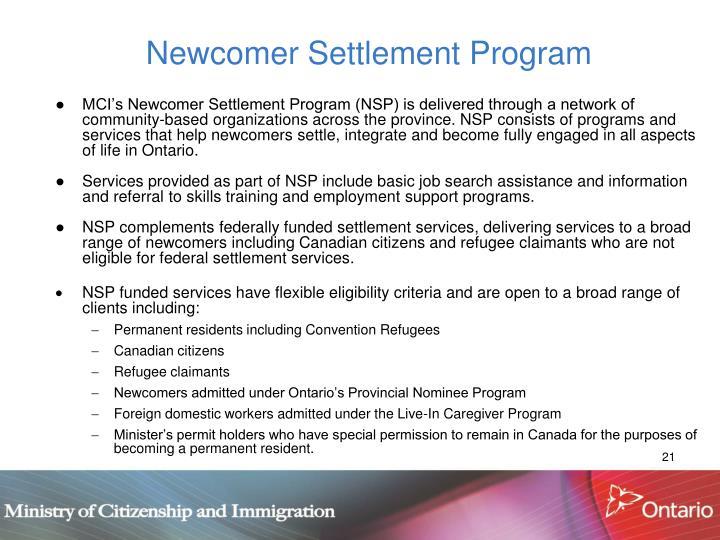 Newcomer Settlement Program