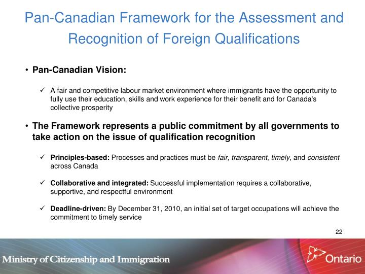 Pan-Canadian Framework for the Assessment and Recognition of Foreign Qualifications