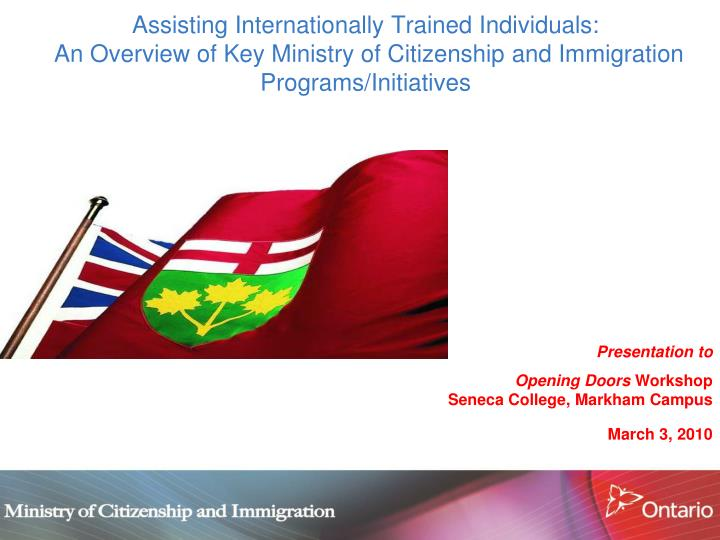 Assisting Internationally Trained Individuals:
