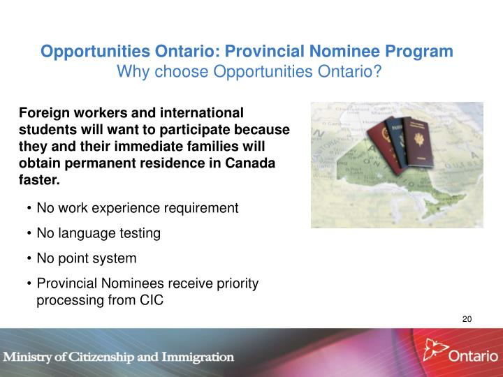 Opportunities Ontario: Provincial Nominee Program