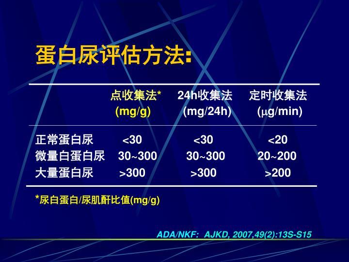蛋白尿评估方法