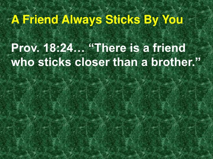 A Friend Always Sticks By You