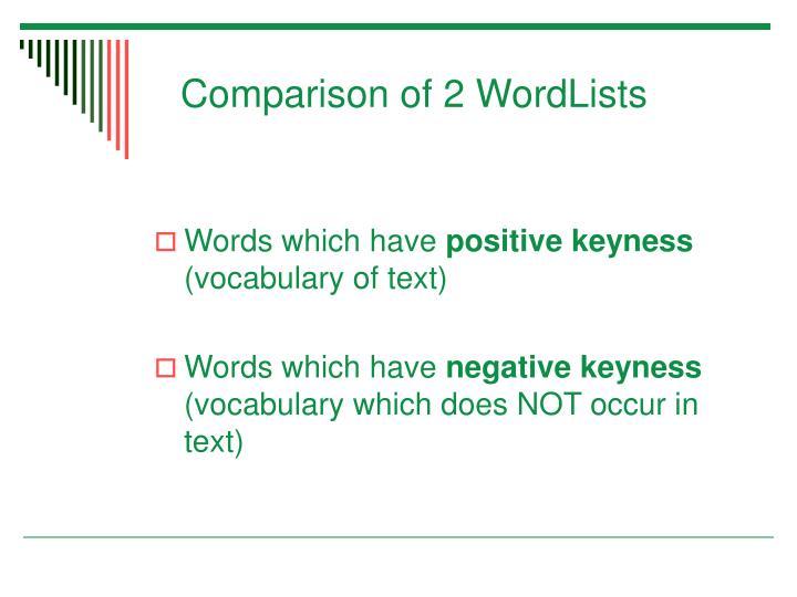 Comparison of 2 WordLists