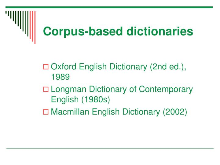 Corpus-based dictionaries
