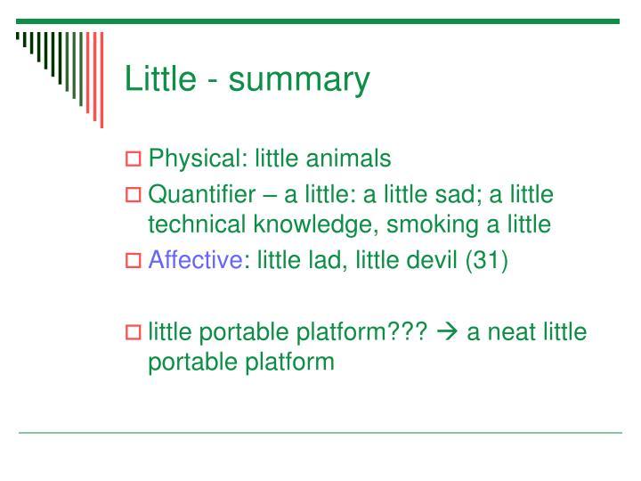 Little - summary