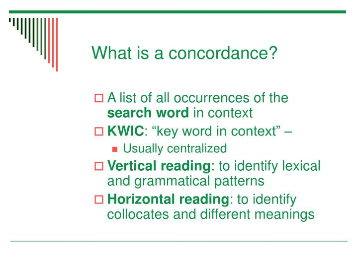 What is a concordance?