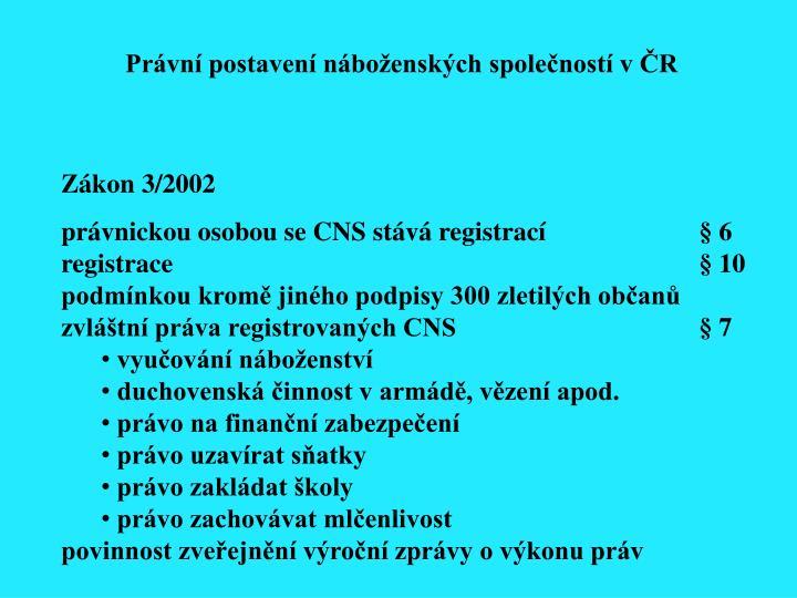 Právní postavení náboženských společností v ČR