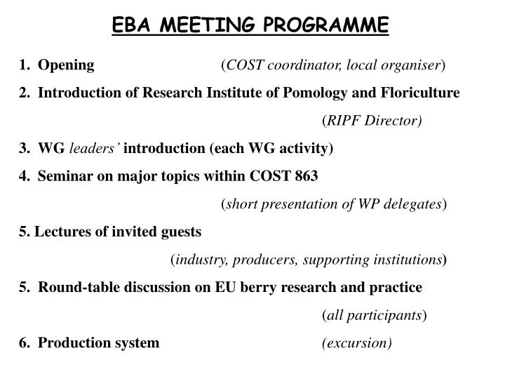 EBA MEETING PROGRAMME