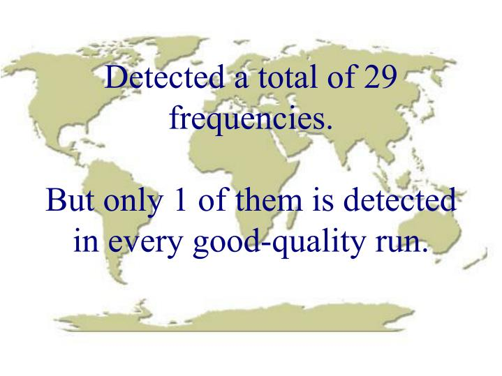 Detected a total of 29 frequencies.