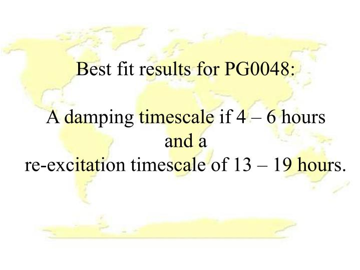 Best fit results for PG0048: