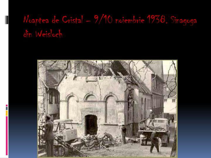 Noaptea de Cristal – 9/10 noiembrie 1938. Sinagoga din Weisloch