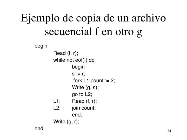 Ejemplo de copia de un archivo secuencial f en otro g