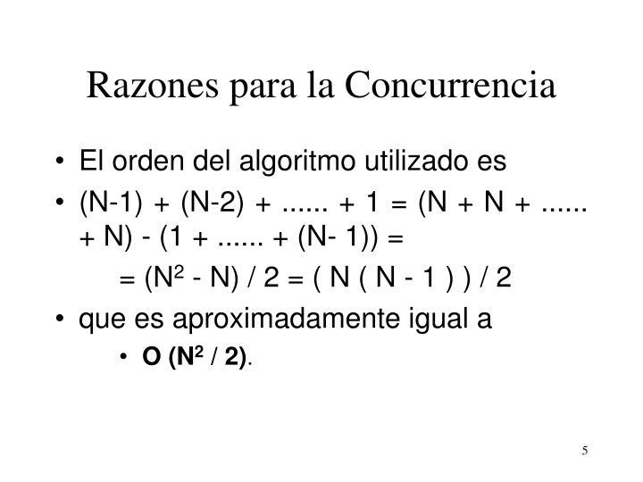 Razones para la Concurrencia