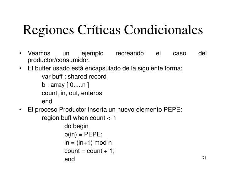 Regiones Críticas Condicionales
