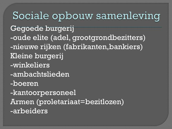 Sociale opbouw samenleving
