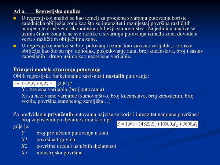 Ad a.Regresijska analiza