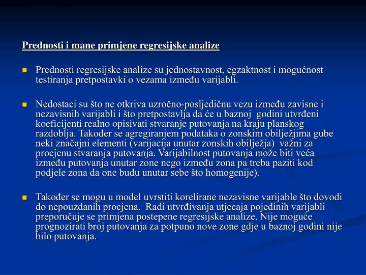 Prednosti i mane primjene regresijske analize