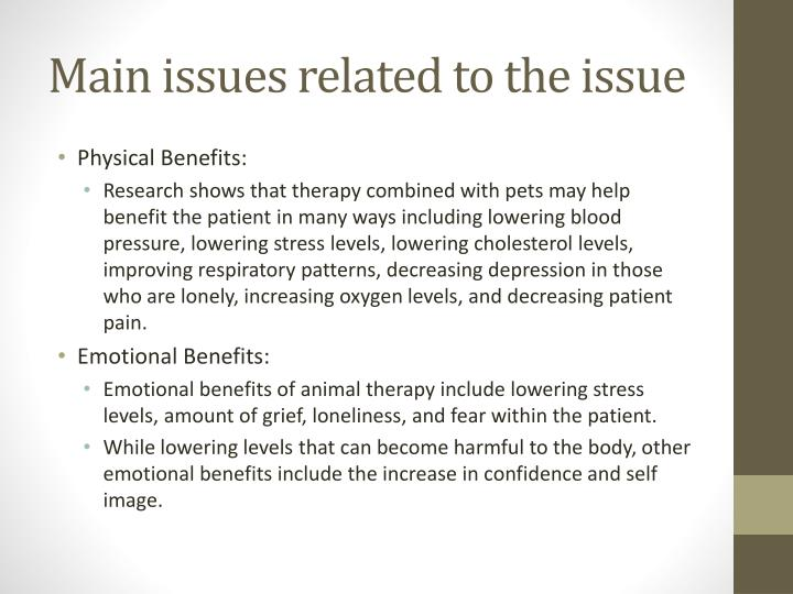 Main issues related to the issue
