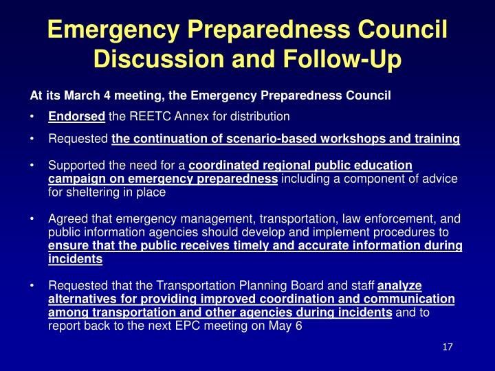 Emergency Preparedness Council Discussion and Follow-Up