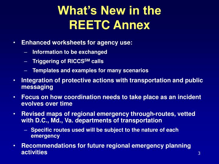 What s new in the reetc annex