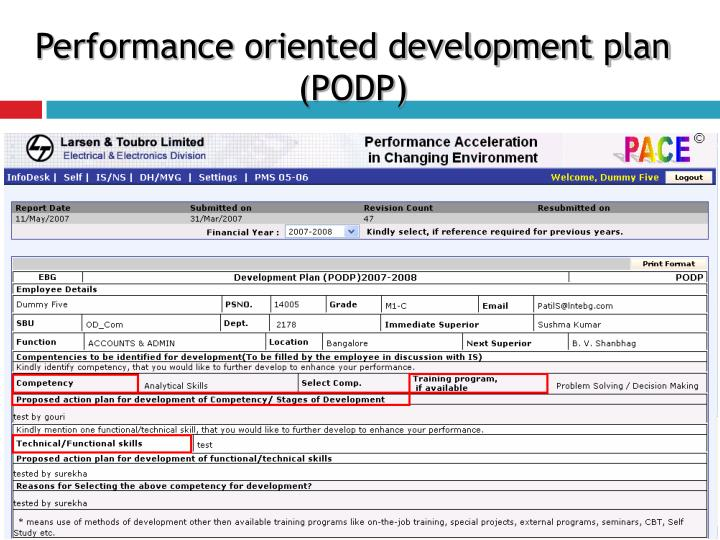 Performance oriented development plan (PODP)
