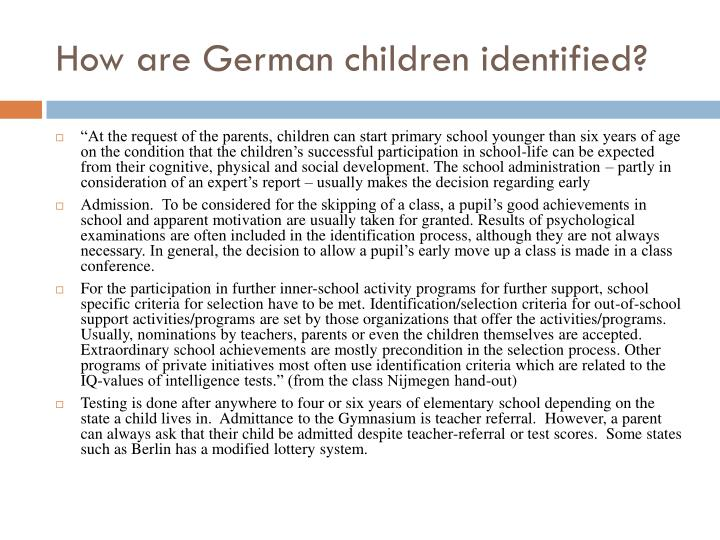 How are German children identified?