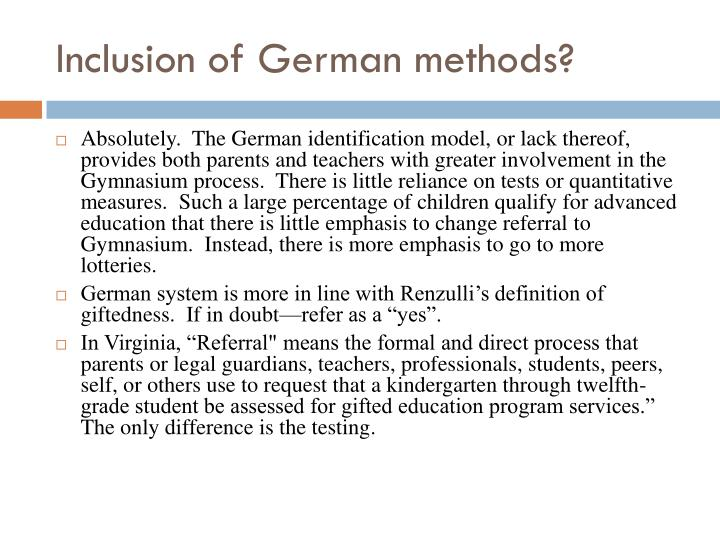 Inclusion of German methods?