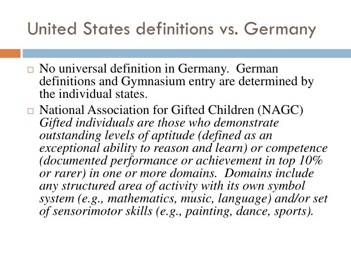 United States definitions vs. Germany