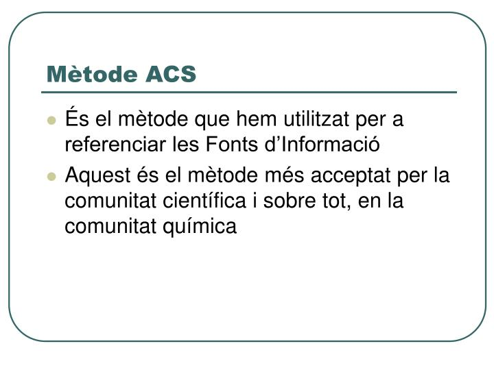 Mètode ACS