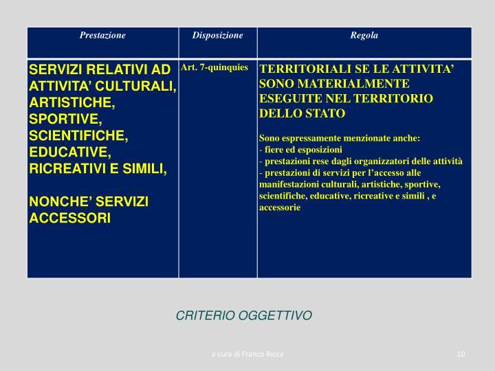 CRITERIO OGGETTIVO