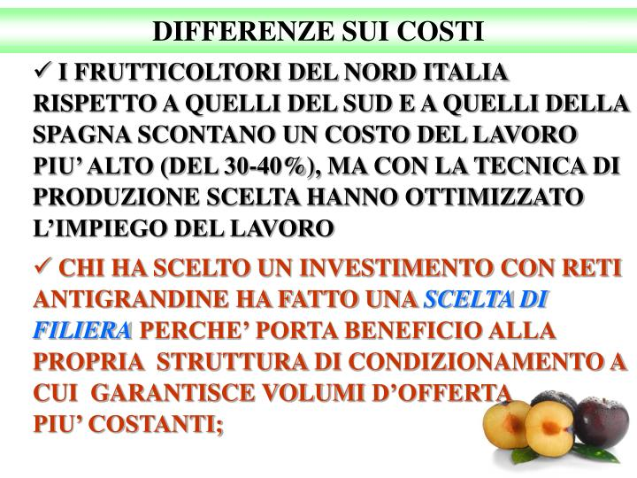 DIFFERENZE SUI COSTI