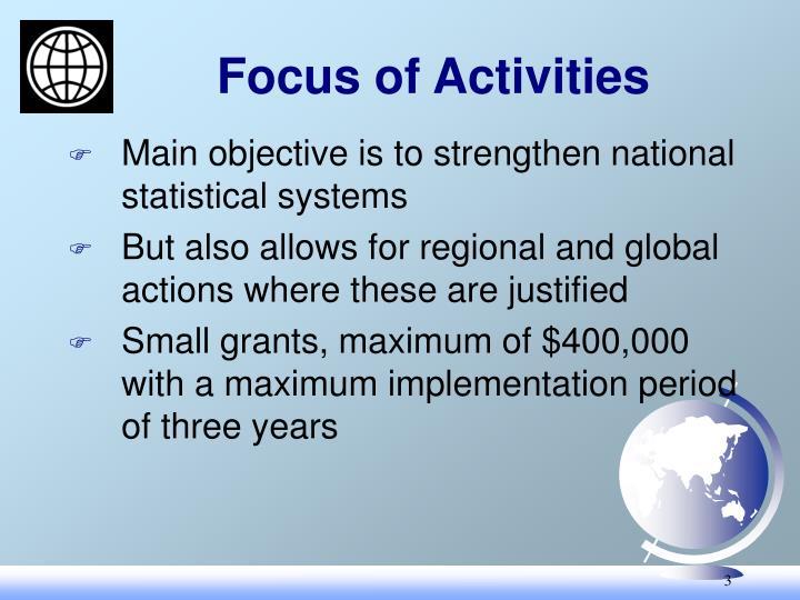 Focus of Activities