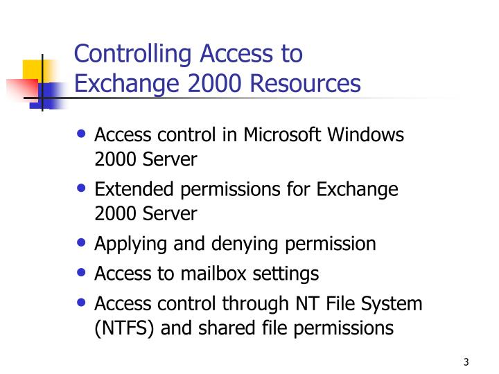 Controlling access to exchange 2000 resources