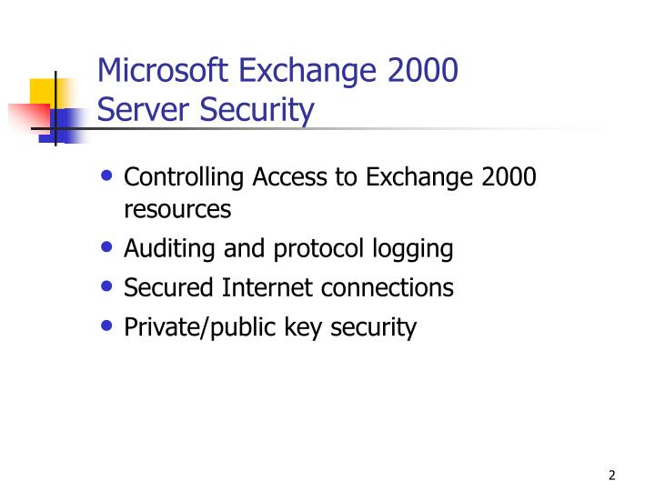Microsoft exchange 2000 server security