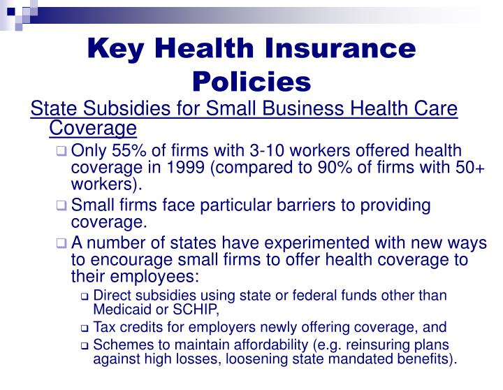 Key Health Insurance Policies