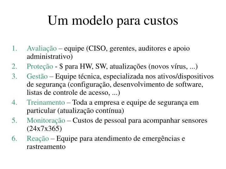 Um modelo para custos