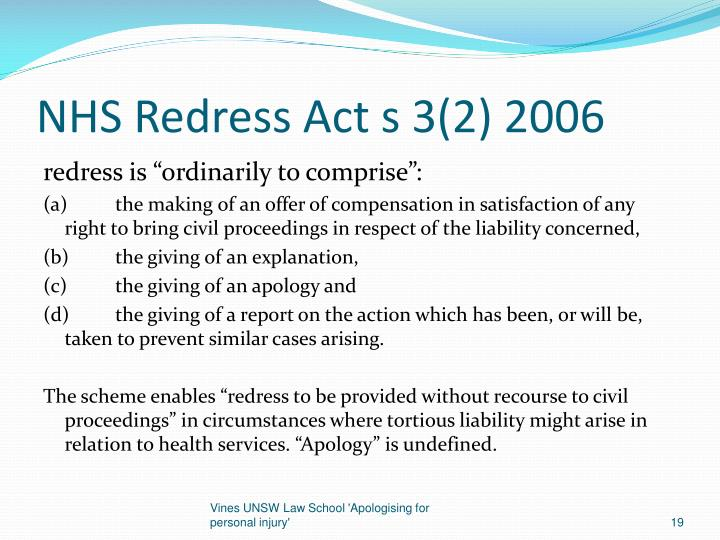 NHS Redress Act s 3(2) 2006