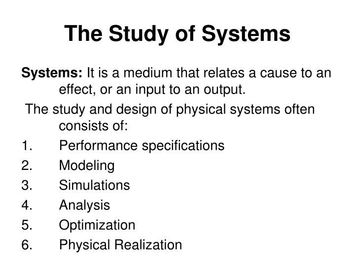The Study of Systems