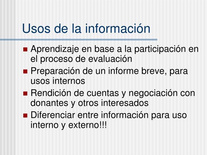 Usos de la información