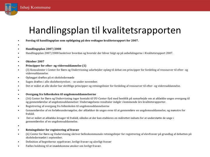 Handlingsplan til kvalitetsrapporten